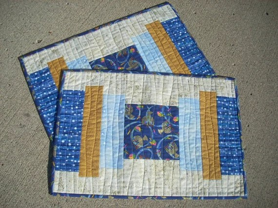 Gold and Blue again for Hanukkah placemats - FREE SHIPPING