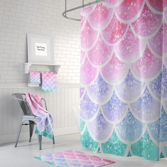 Pastel Mermaid Scales Shower Curtain Optional Bath Bath