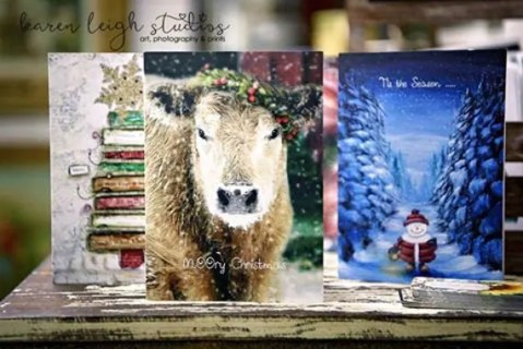 I love the Cow! Hand crafted Christmas holiday cards