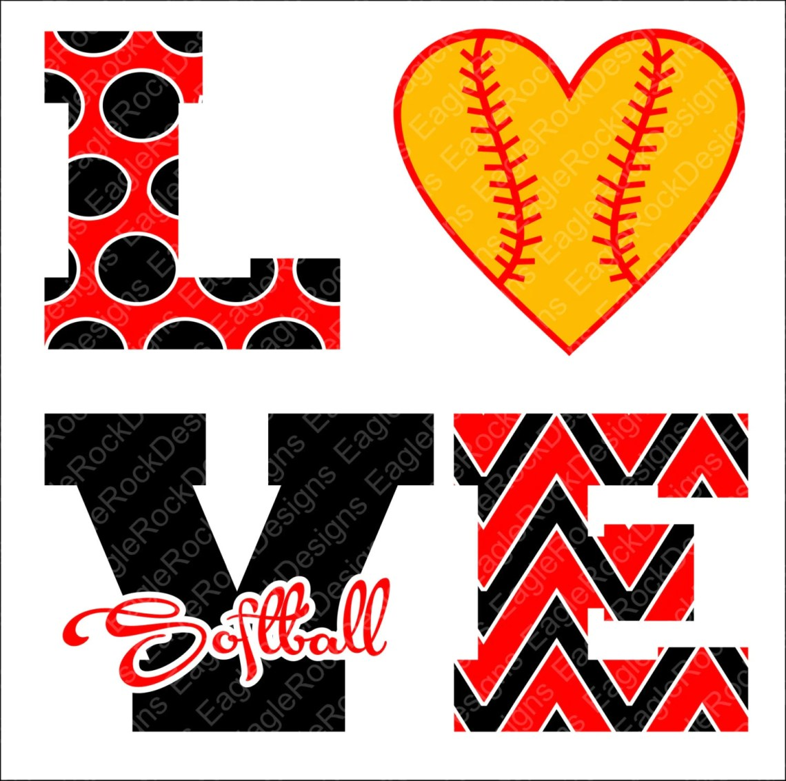 Download Love Softball SVG DXF EPS Png Cut File for Cameo and