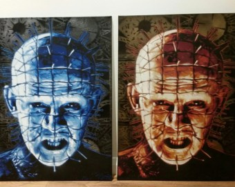 Raiser Pinhead Spray Paint On Canvas Hand Cut Stencils Horror S Street Art