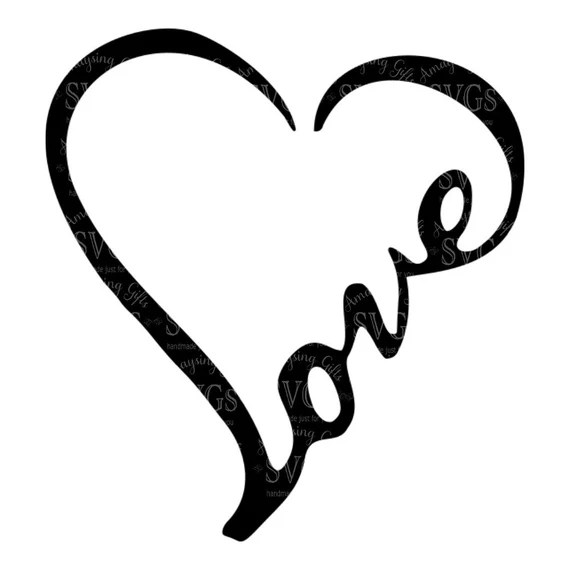SVG Love Word Heart Love Heart Wordart Love Decal
