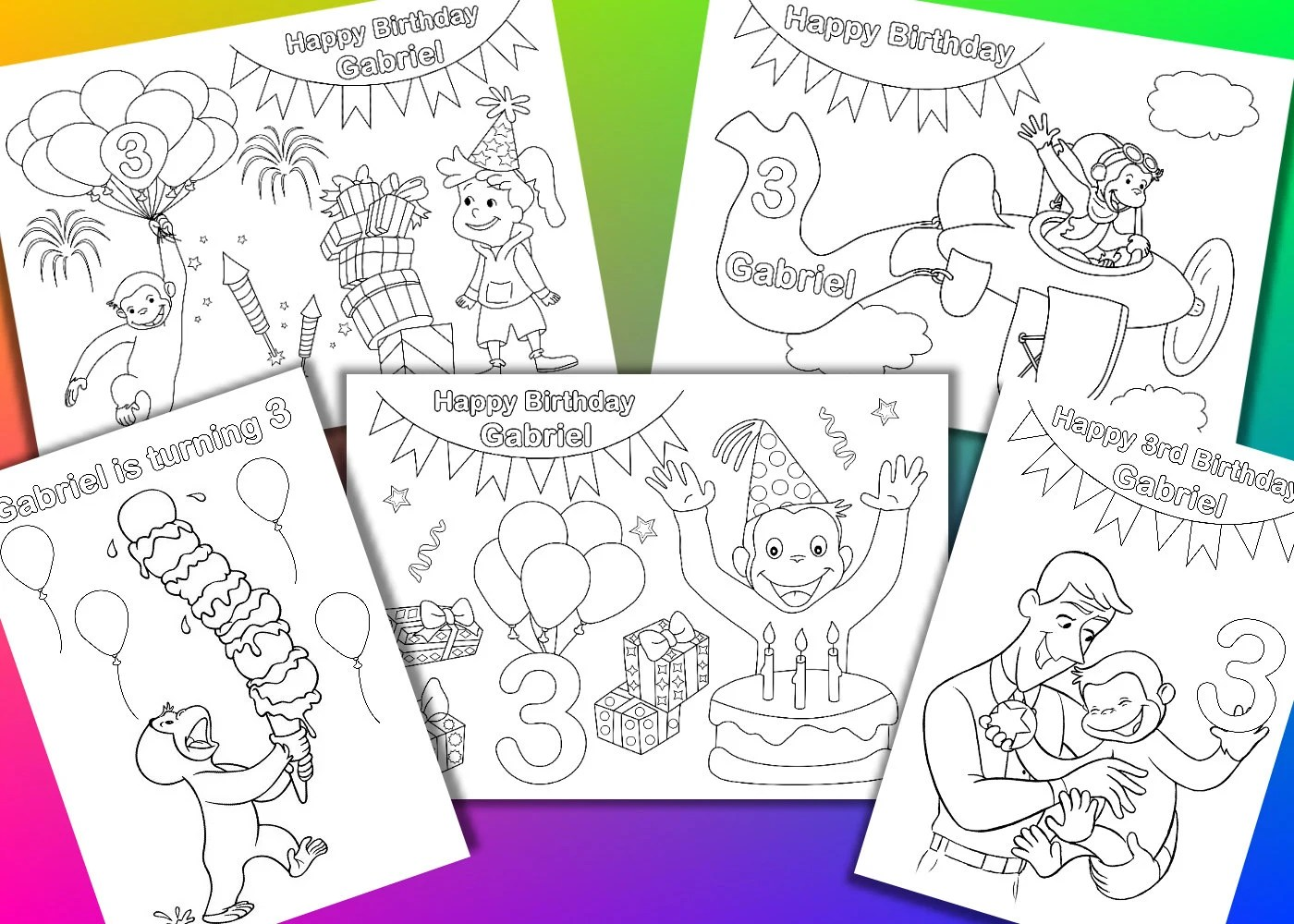 Curious George Birthday Party Coloring Pages Activity