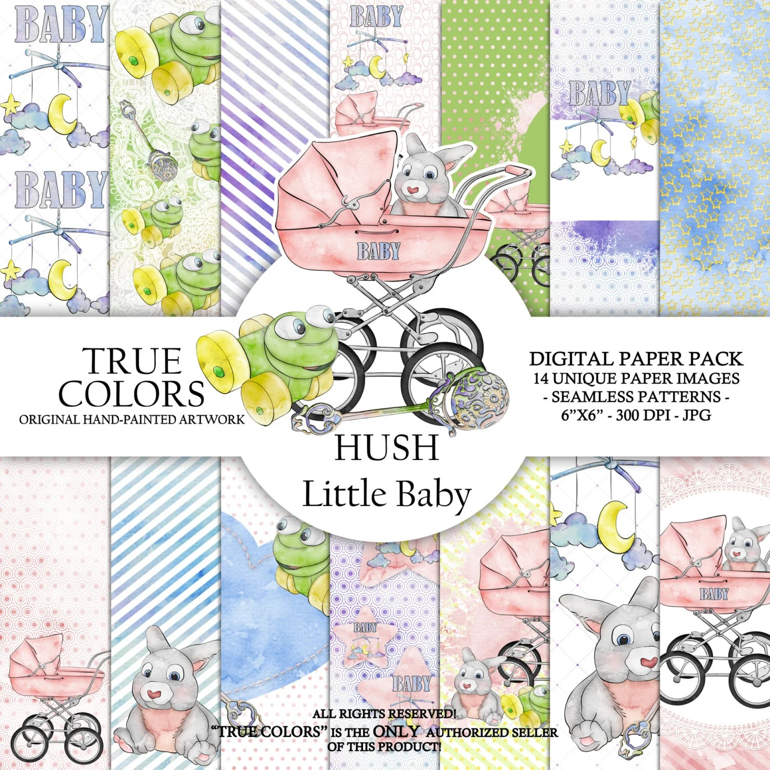Hush Little Baby Digital Paper Pack Fashion Illustration Planner Stickers Supplies Seamless