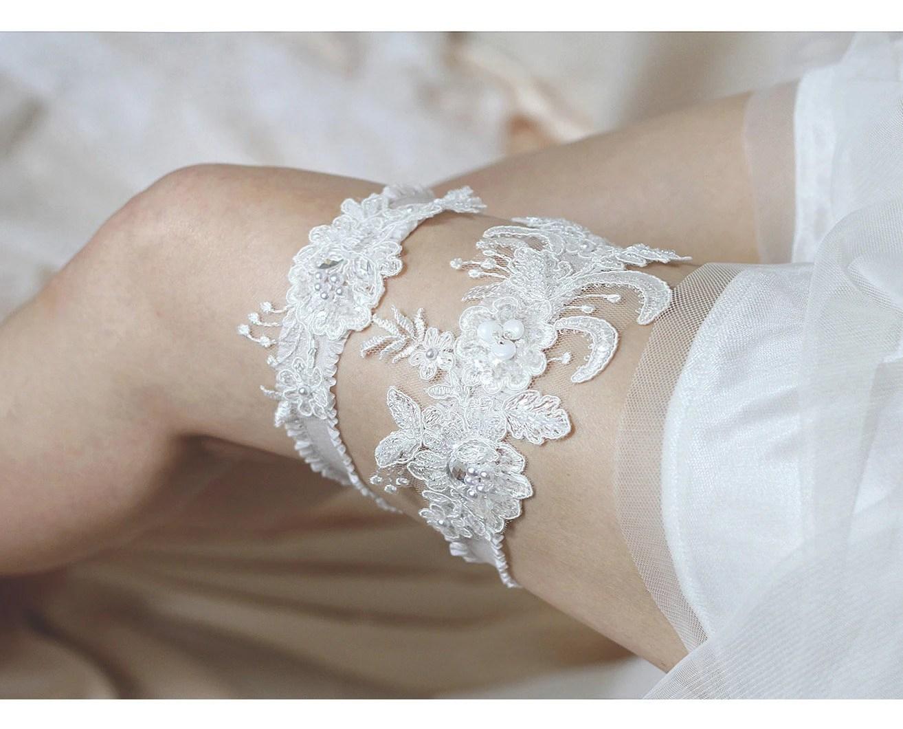 Wedding Lace Garter Set Lace Garter Set Bridal By MirinoBridal