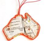 Australia map travel tag, travel label Australian pattern, luggage tag, handmade