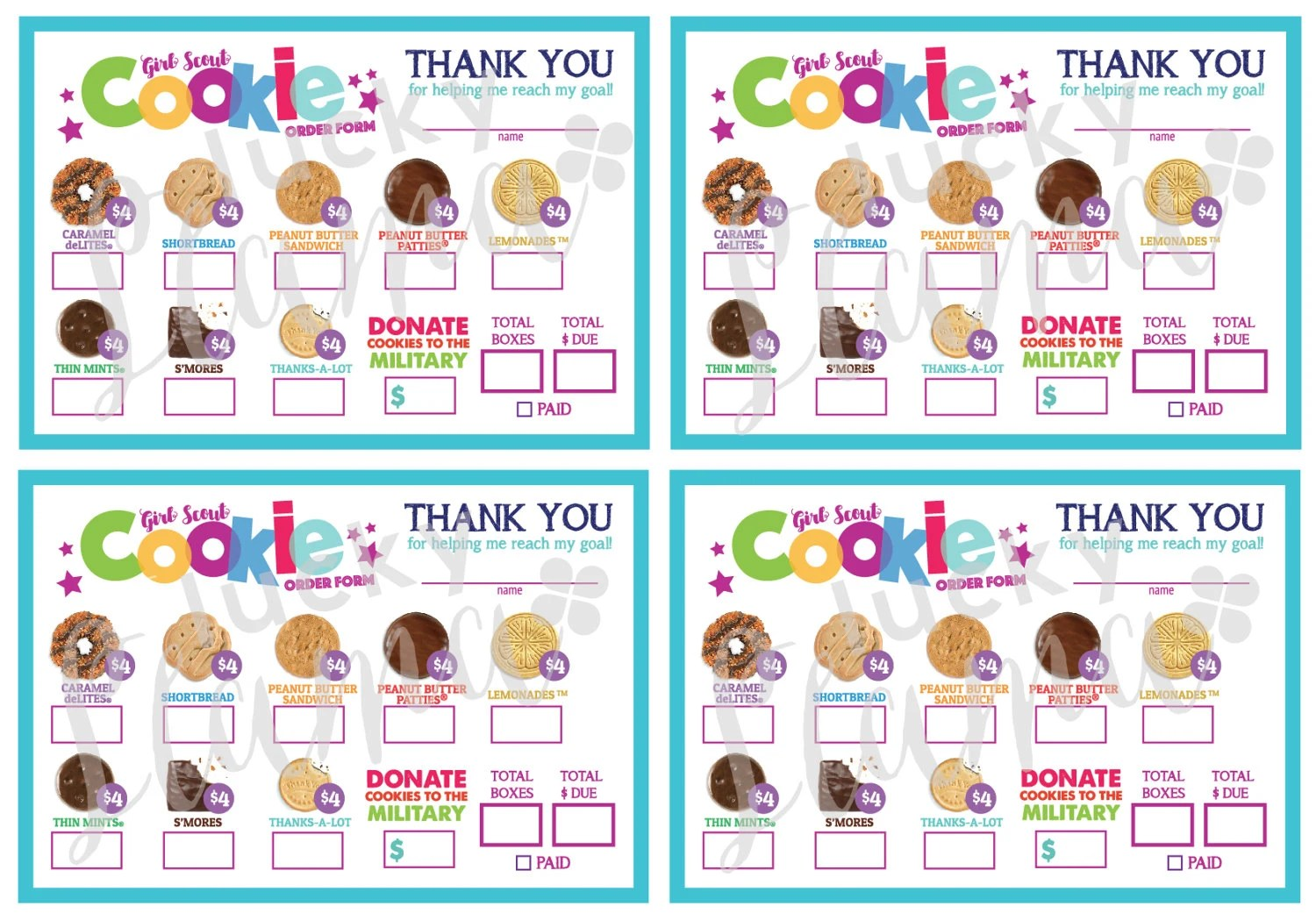 Mini Girl Scout Cookie Order Form Printable