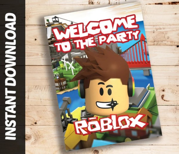 Instant Download Roblox Printable Birthday Welcome Sign Banner