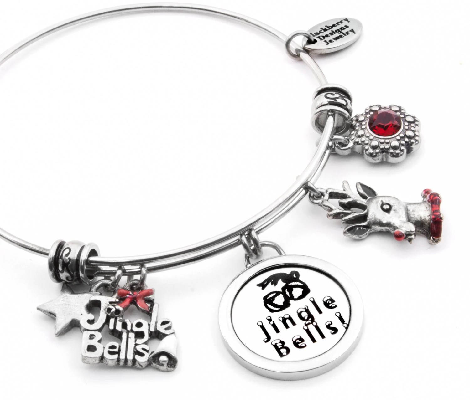 Reindeer Bangle Bracelet With Jingle Bell Charms And Ruby