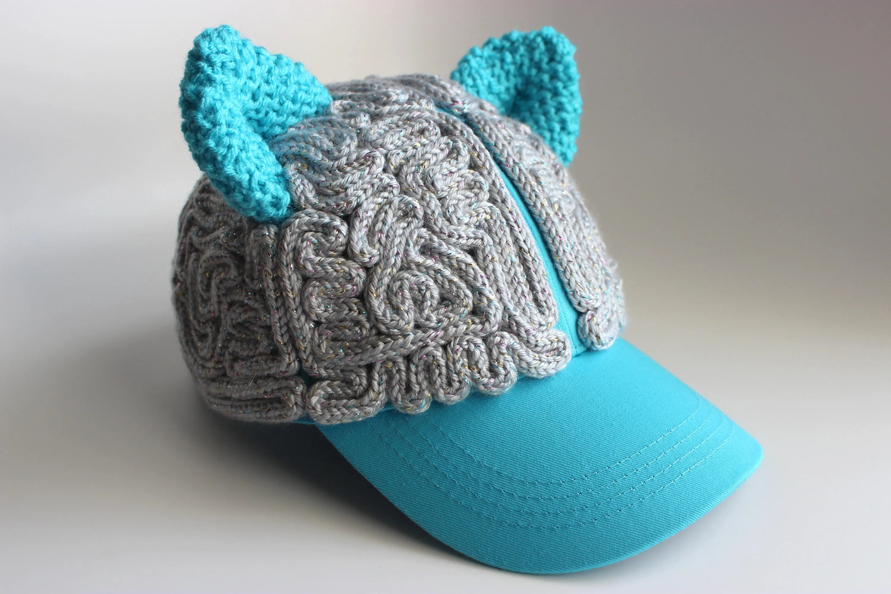 Brain Hat Hat Sparkly Gray Matter Blue Cat Ears