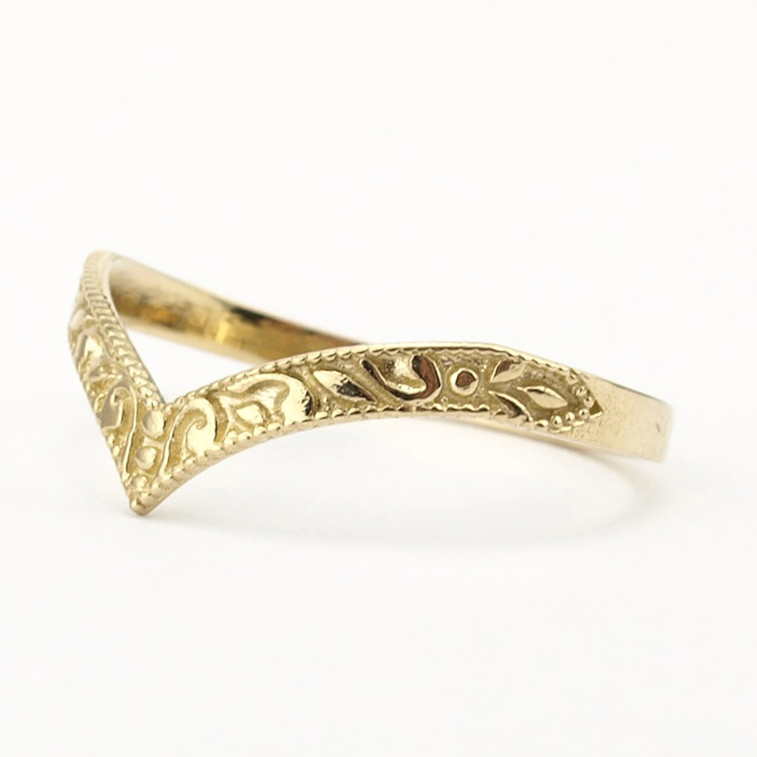 Gold Wedding Band Stacking Ring Curved Wedding Band Pointy