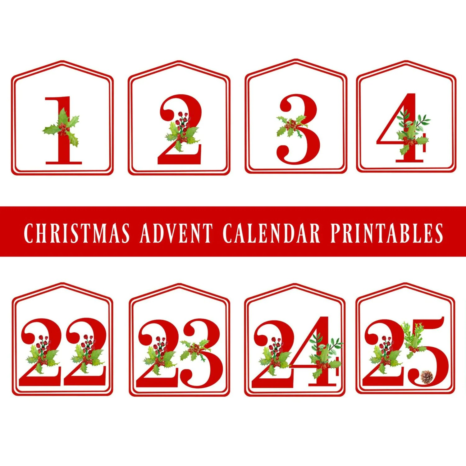 Diy Christmas Advent Calendar Red Printable Numbers 1 25