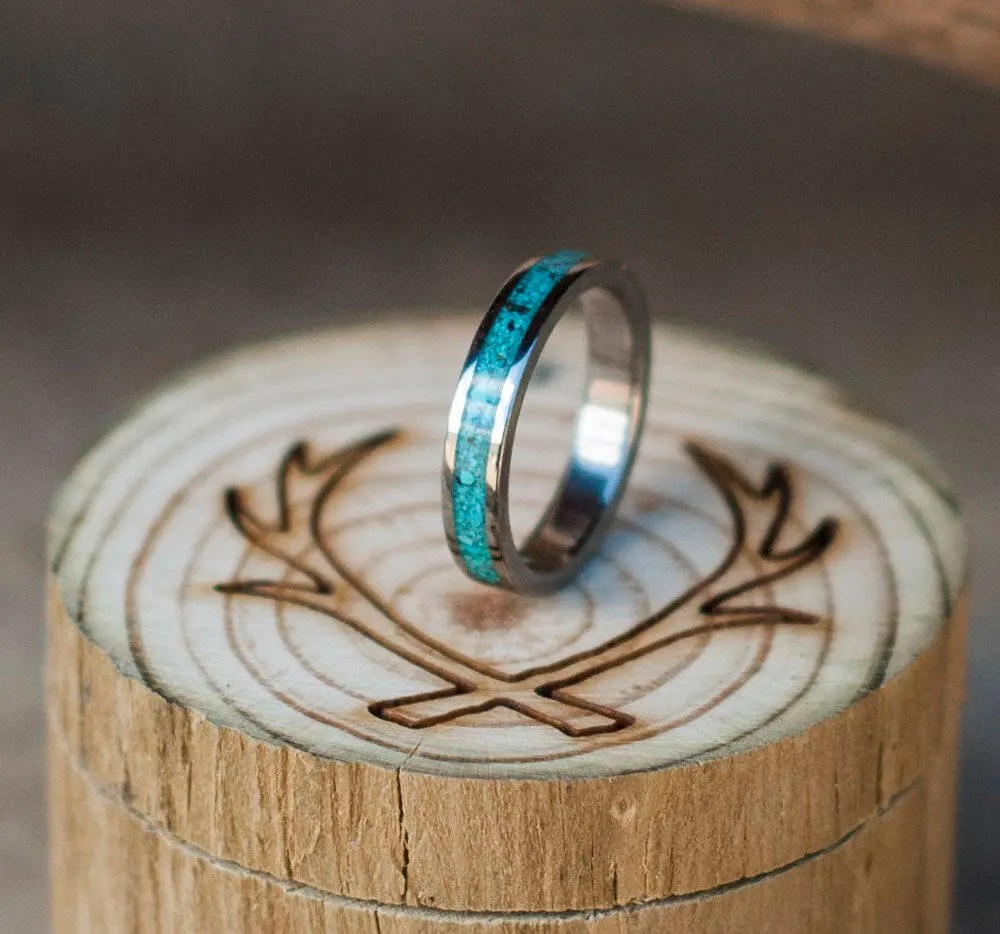 Womens Wedding Band Turquoise Stacking Ring Staghead Designs