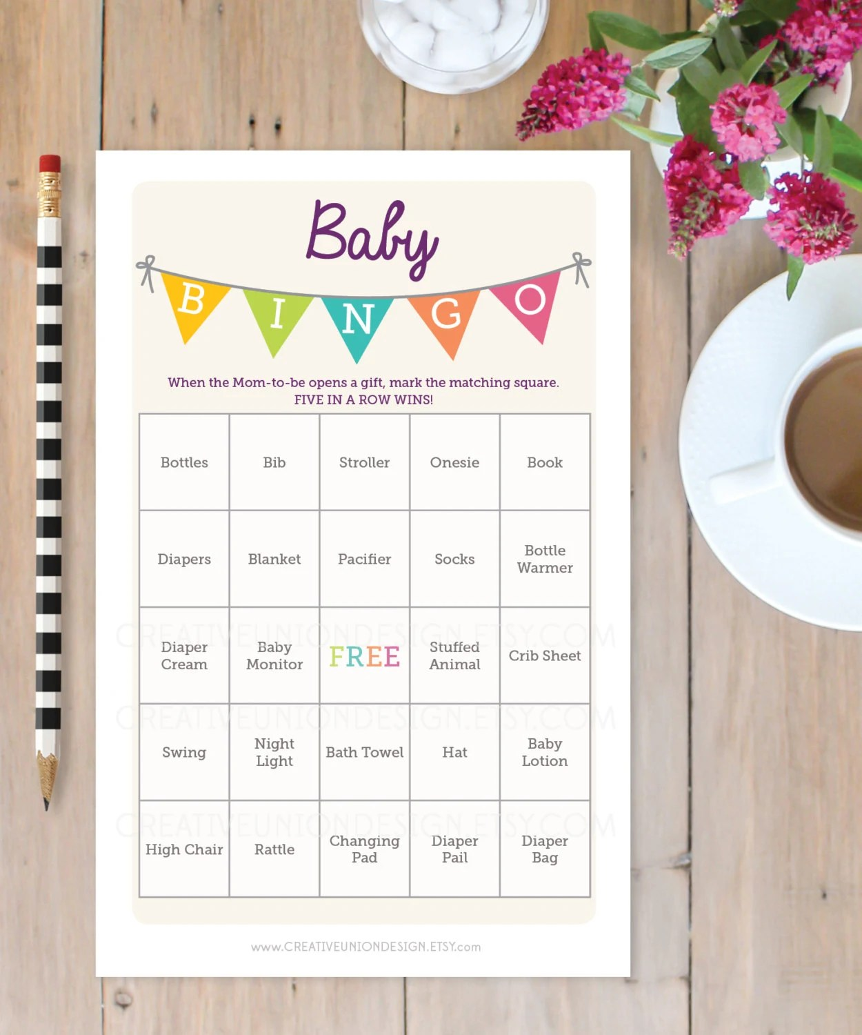 Baby Shower Bingo Game 50 Unique Game Sheets Bingo Baby