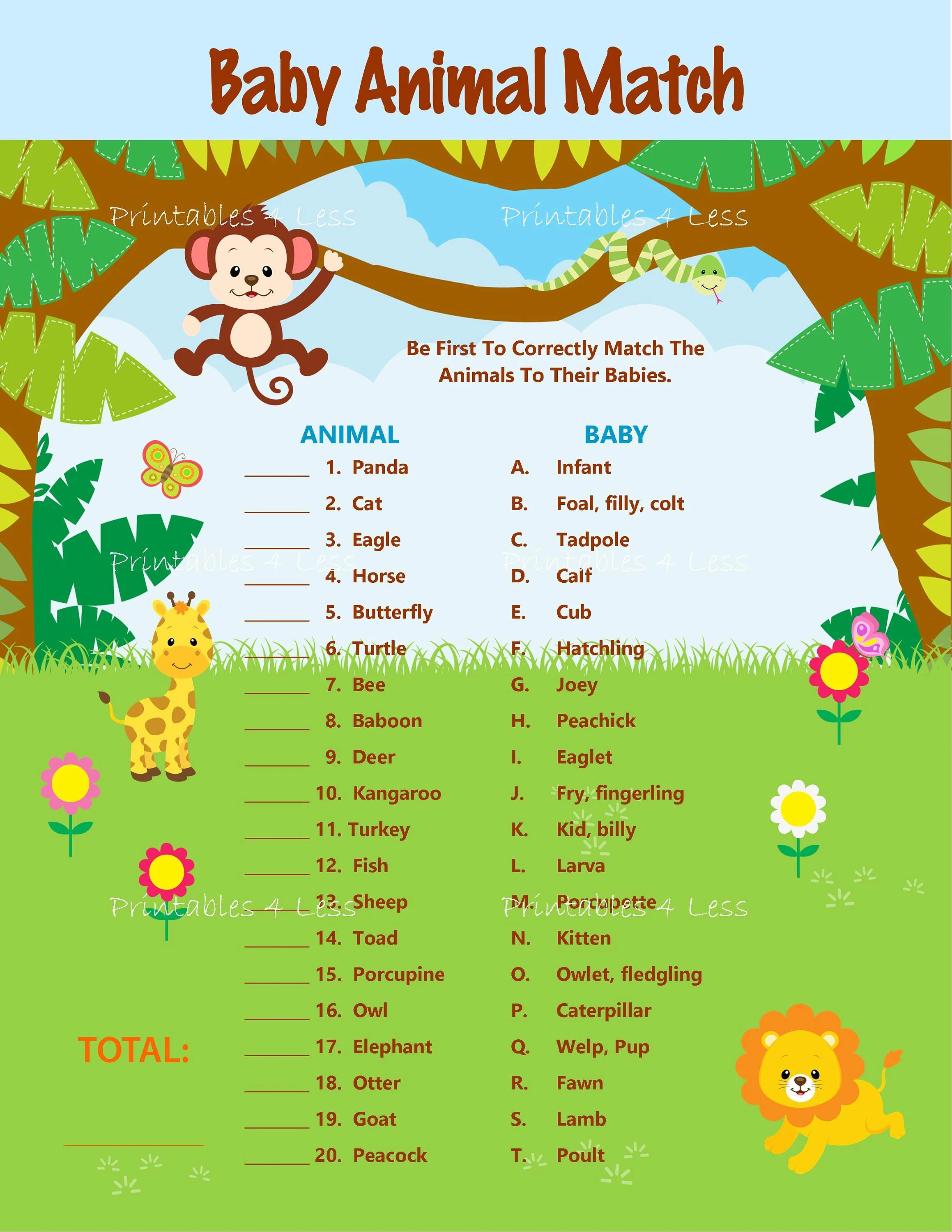 Safari Baby Animal Match Baby Animal Name Game Jungle Animal