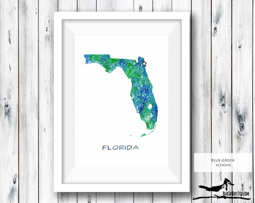 Florida Map Watercolor Art - Custom Map Art Wedding Gift - Personalized Map Housewarming Gift - Travel Art Beach House Decor - Birthday Gift