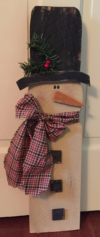 Large 2ft Primitive Wood Hanging Snowman Primitive Christmas