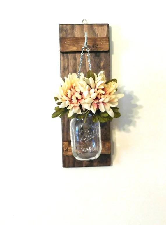 Hanging Mason Jar Wall Sconce Flower Vase Candle Sconce Rustic on Candle Wall Sconces With Flowers id=61153