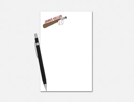 Personalized Baseball Notepad