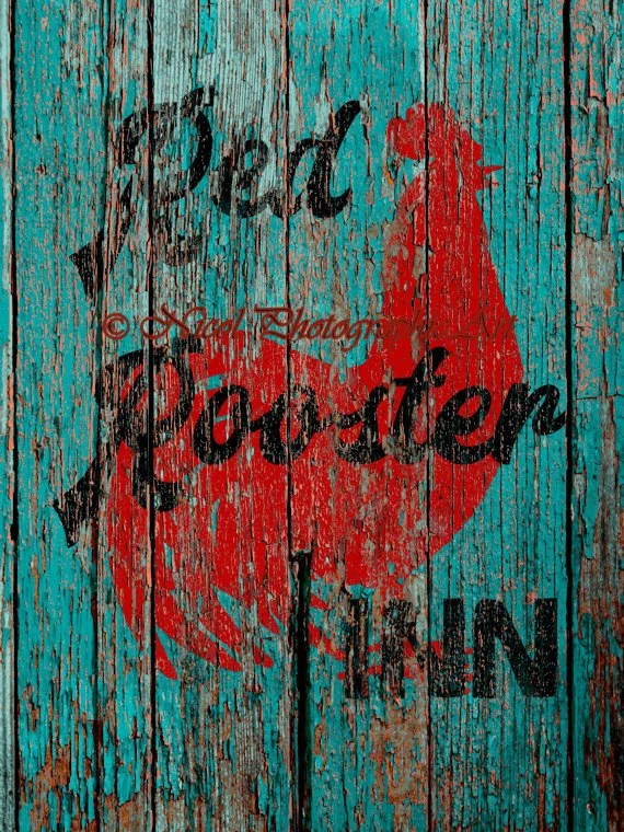 Rustic Red Rooster Inn Teal Country Decor Kitchen Cafe Art