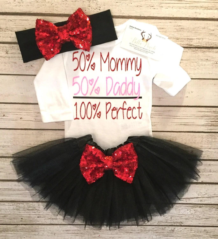 Baby Girls Clothes Valentines Bodysuit 50 Mommy Daddy 100