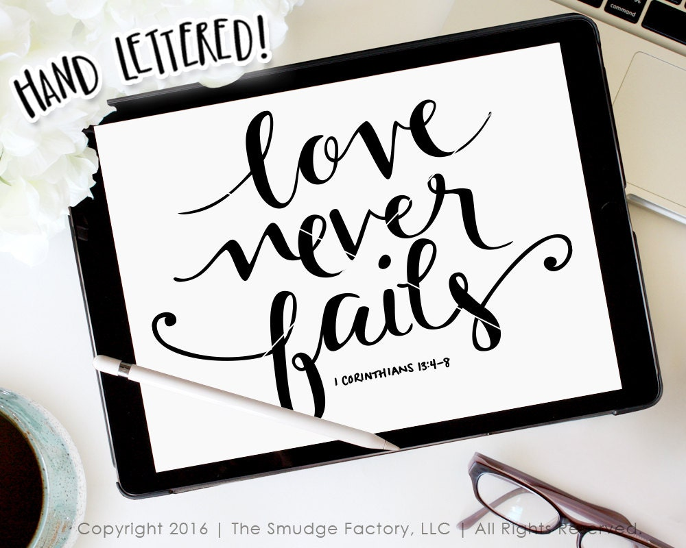 Download Love Never Fails SVG Hand Lettered Bible Verse Bible Verse