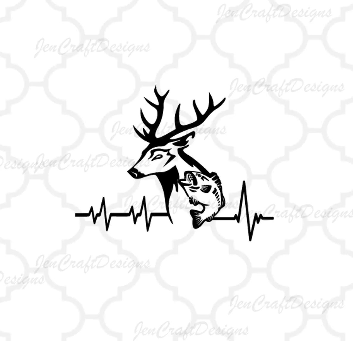 Deer Fish Svg Cutting File Hunting Svg Heartbeat Buck Svg Eps Dxf Files Vector Art