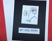 Get well soon card, flowe...