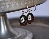 Vintage Floral Black Glass Earrings - Vintage Assemblage