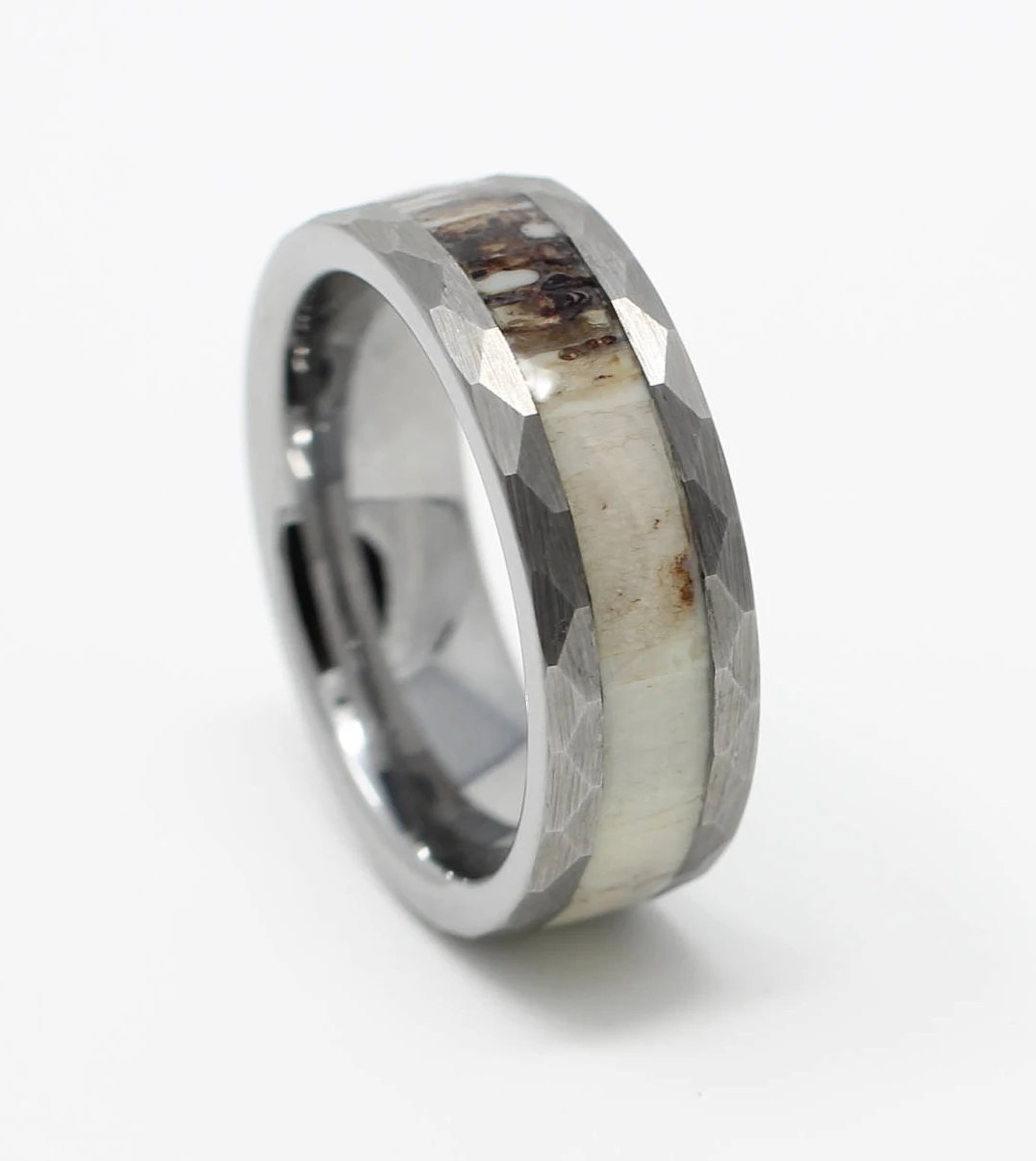 Tungsten Deer Antler Wedding Band 8MM Hammered Design Mens