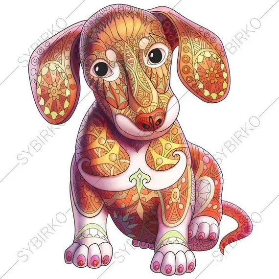 zentangle daschund puppy coloring page