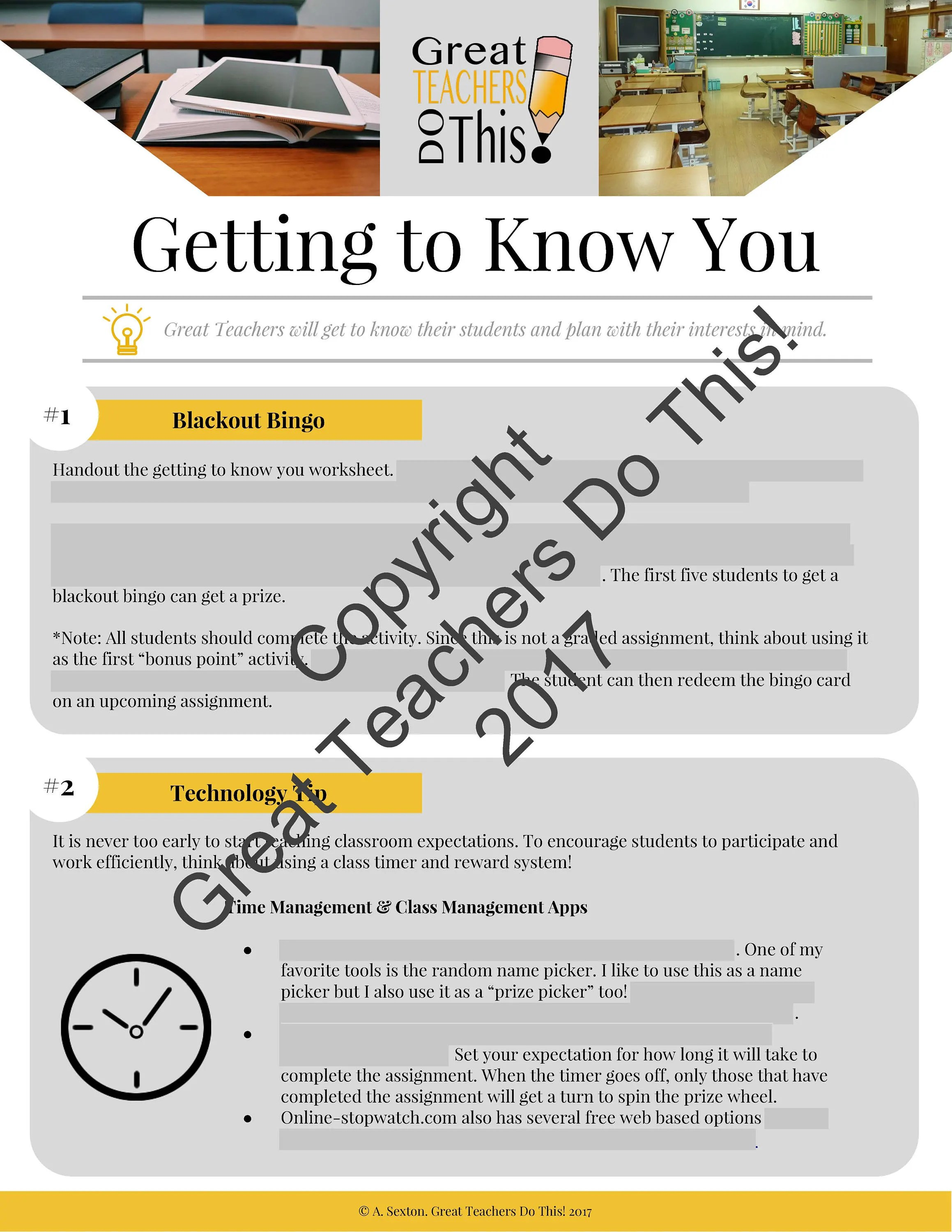 Getting To Know You Classroom Activity