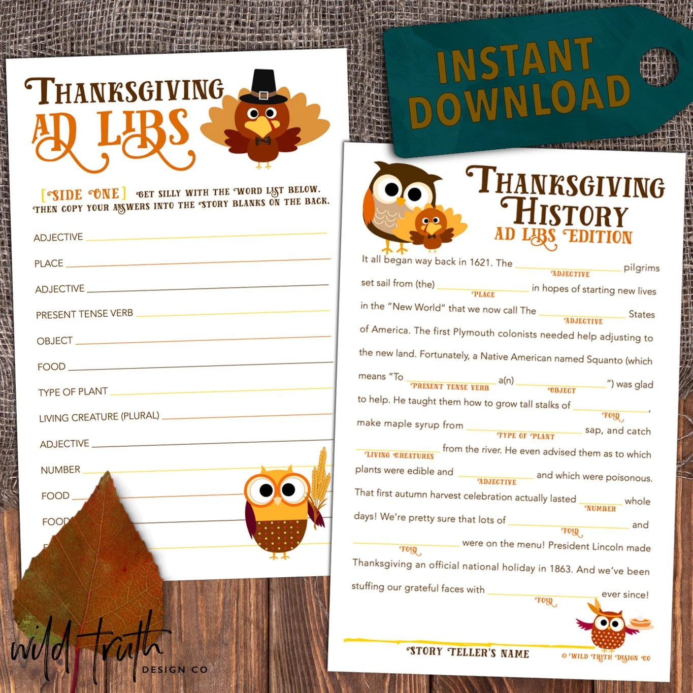 Printable Thanksgiving Game Mad Lib Party Favor School