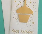 Gold Happy Birthday card,...
