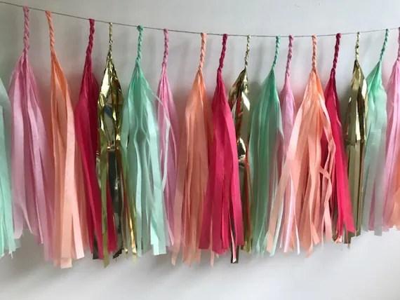 Fully Assembled Tassel Garland , Tissue tassel banner, Baby shower banner, Wedding garland, garland banner, Peach Mint Pink Tassel Garland