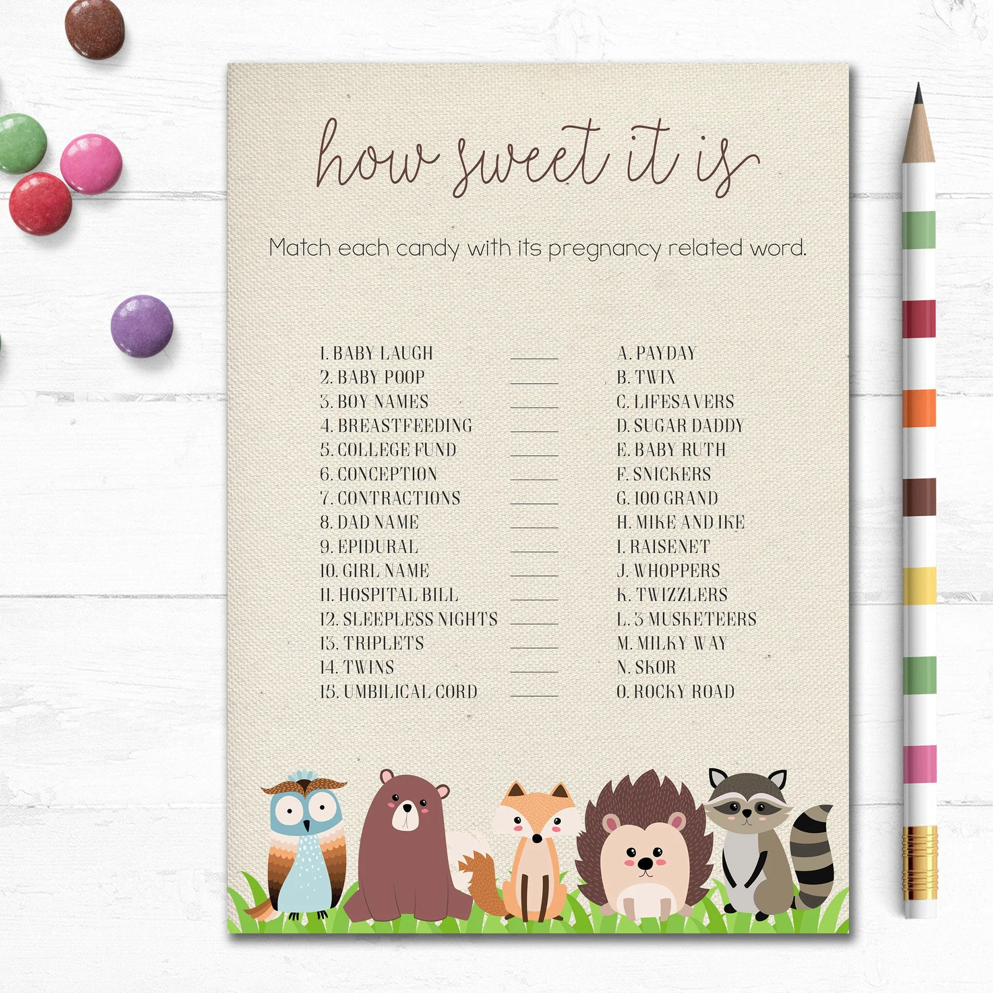 Printable Woodland Baby Shower Game How Sweet It Is Candy Bar Game Woodland Candy Bar Game