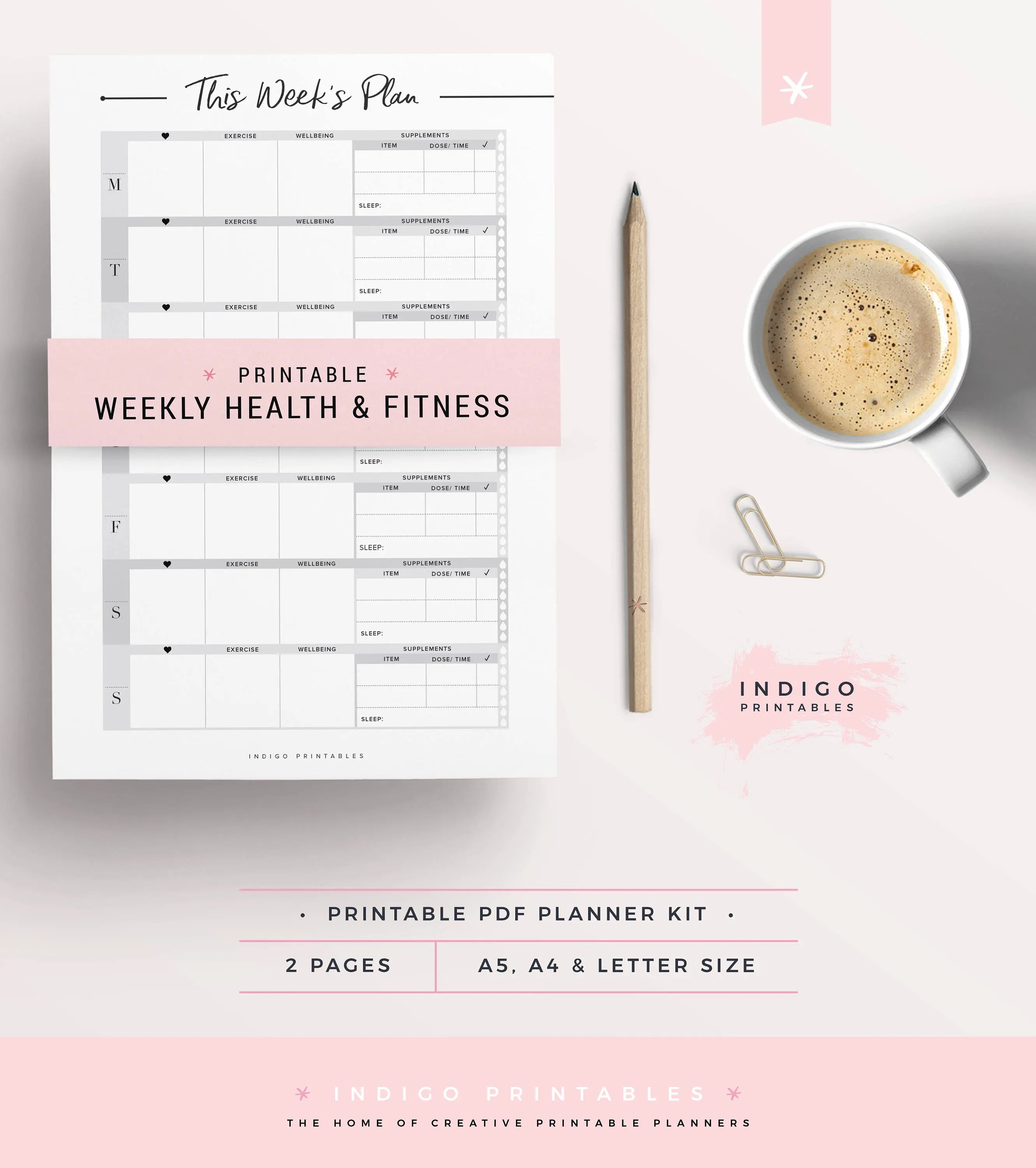Fitness Planner Weekly Fitness Planner Wellbeing Planner