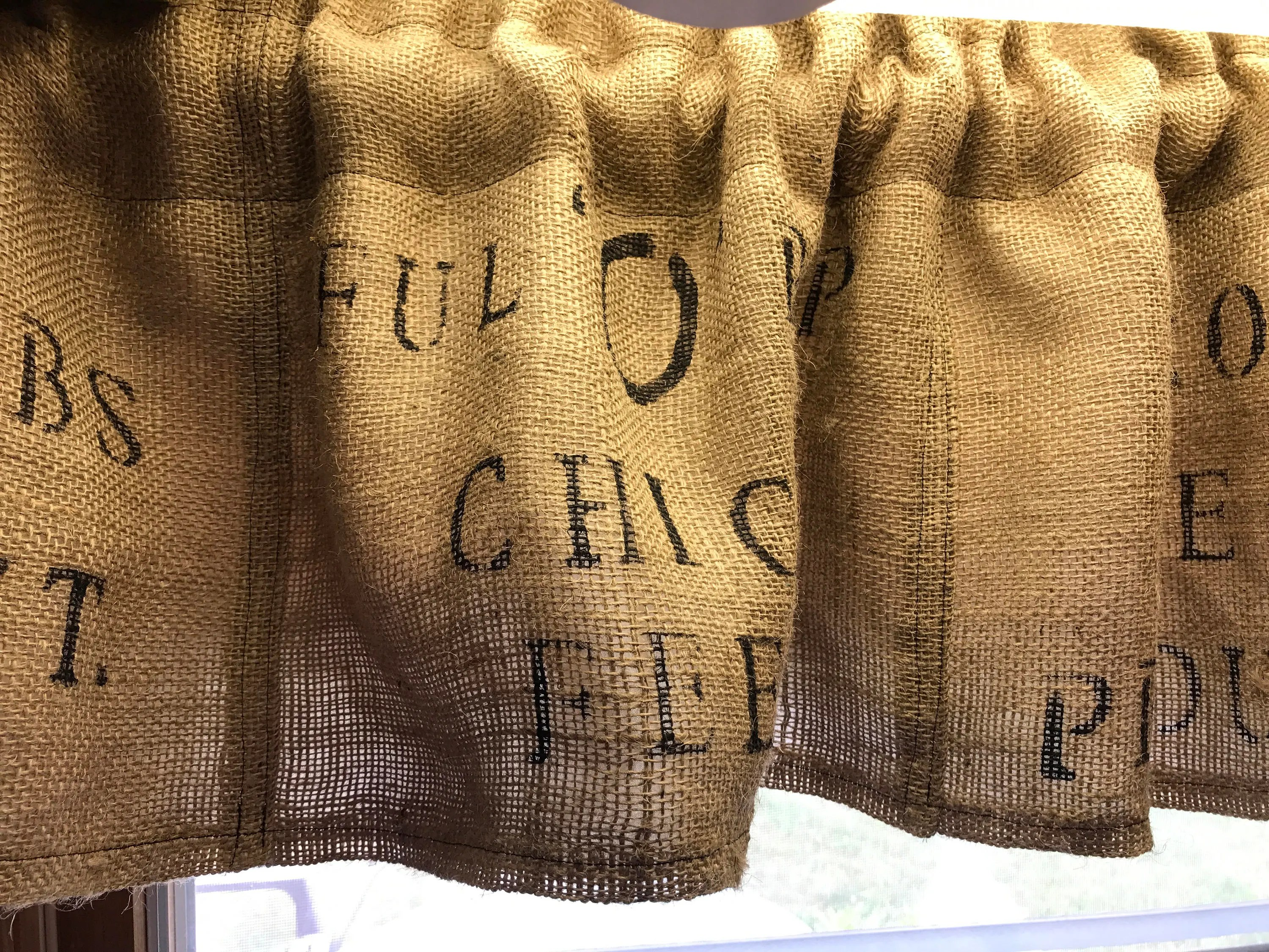 Primitive Curtains Chicken Feed Sack Valance Burlap