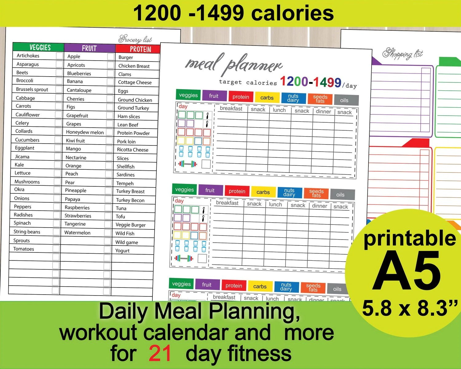 21 Day Fitness Calories Tracker A5 Meal Planner