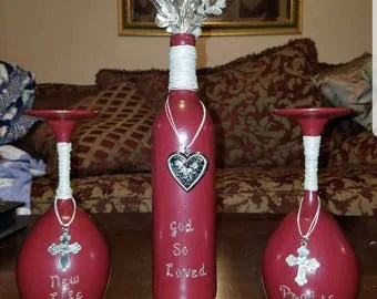 Hand Painted Wineglass Set Of Two Lotus