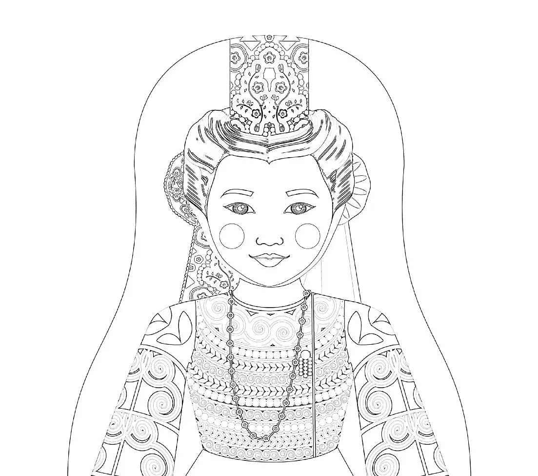 French Bigoudene Matryoshka Coloring Sheet Printable File