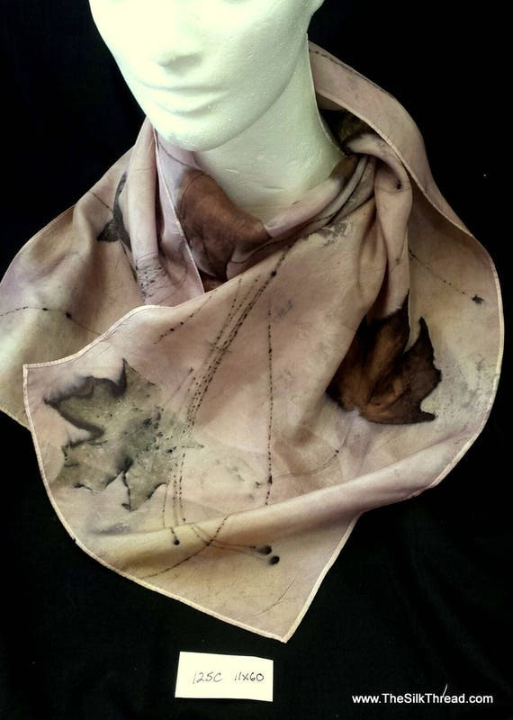 """Lavender Silk Scarf, eco-printed with maple, pine and sumac by artist, all natural, sustainable, unique slow fashion art, 11"""" x 60"""" 125C"""