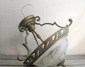 Vintage brass and glass c...