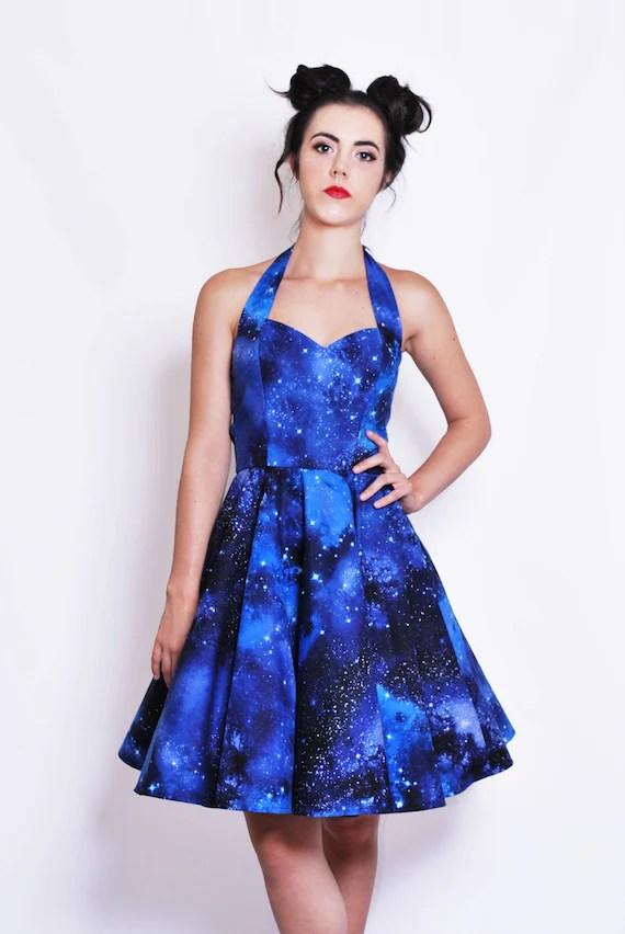 Galaxy space dress Womens space print halterneck 50s