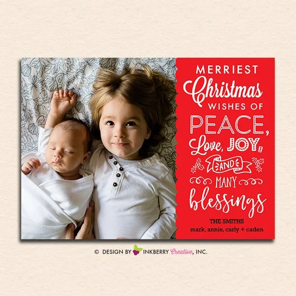 Mixed Type Merry Message Christmas Card Digital File By