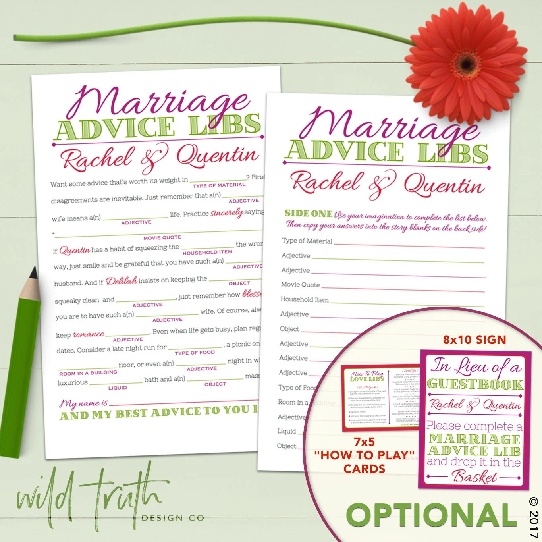 Wedding Mad Lib Marriage Advice Guestbook Custom Printable