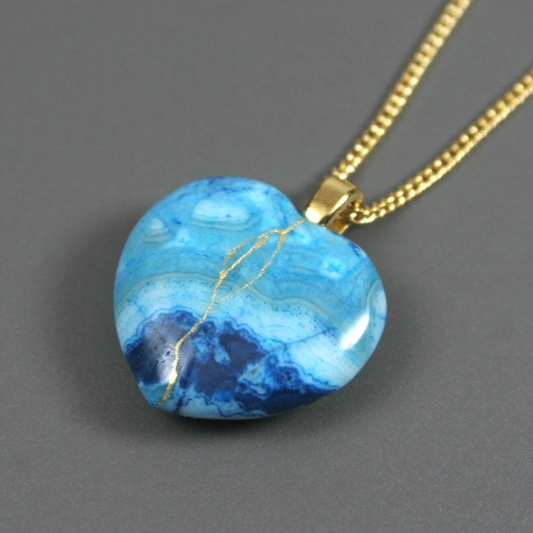 Broken heart pendant in blue crazy lace agate with gold kintsugi (kintsukuroi) repair on curb chain - OOAK