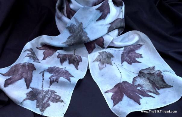 """Pale Blue Silk Scarf, Bold Maples Ecoprinted on Silk by Artist,Natural, Sustainable, Unique Slow Fashion art, 8"""" x 72"""" 126B Free USA ship"""