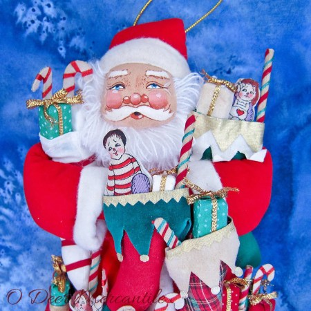 Annalee Santa Claus Ornament With Stockings and Gifts For All: Large 12 Inch Tall Santa Claus Ornament