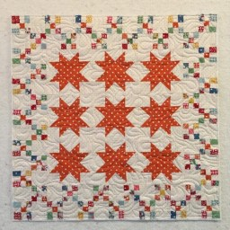 Sawtooth Stars // Nine Patch // Miniature Quilt // Orange Polka Dots // Table Topper // Wall Hanging // Handmade Quilt // Patchwork Quilt